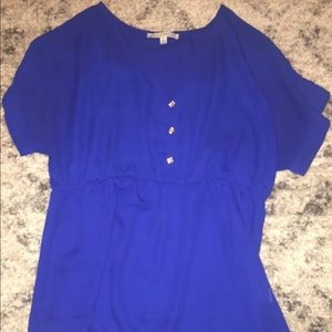 Blue maternity blouse